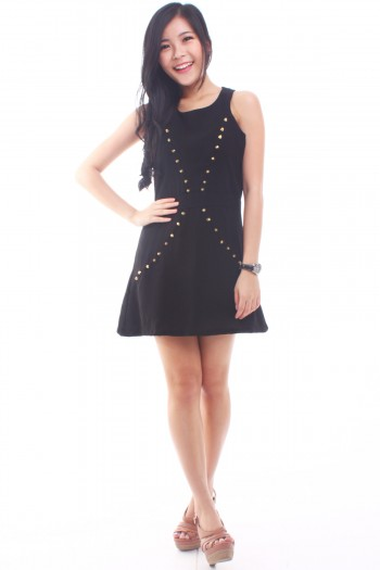 Studded Cut-In Dress