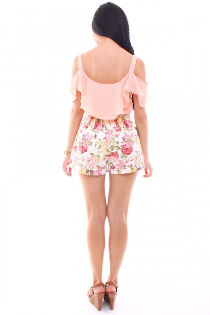 Floral High Waist Slit Shorts - The Label Junkie