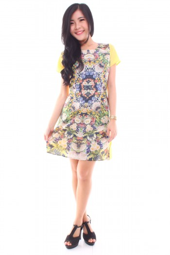 Abstract Floral Shift Dress
