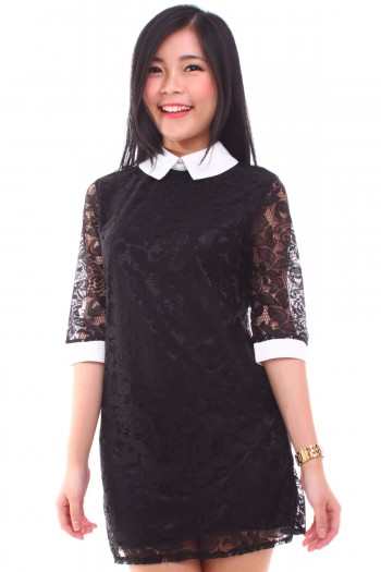 Lace Contrast Shift Dress