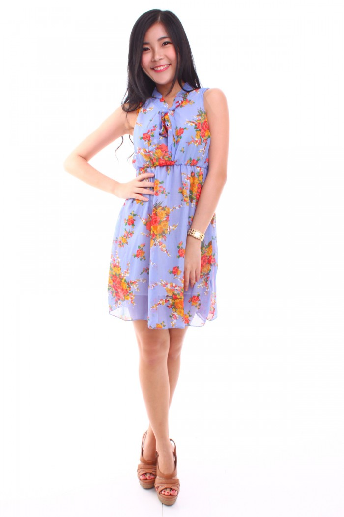 Floral Pussy Bow Dress The Label Junkie