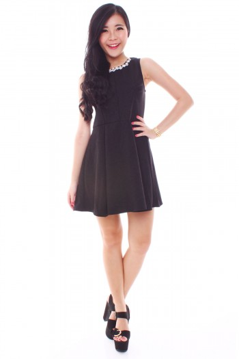 Diamante Embellished Skater Dress
