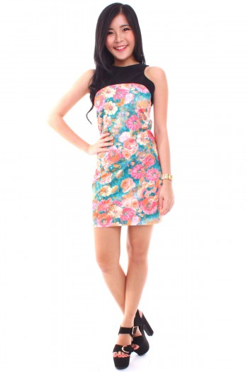 Cut-In Watercolour Floral Dress