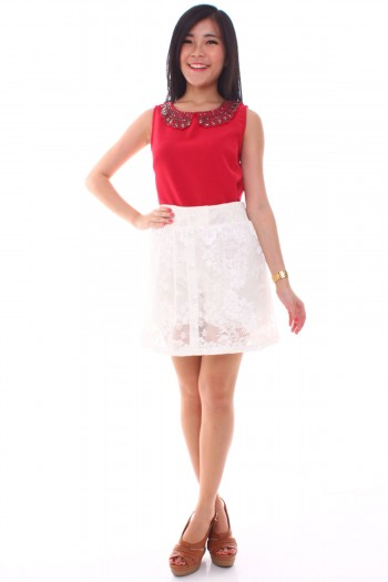 Lace Button Skirt