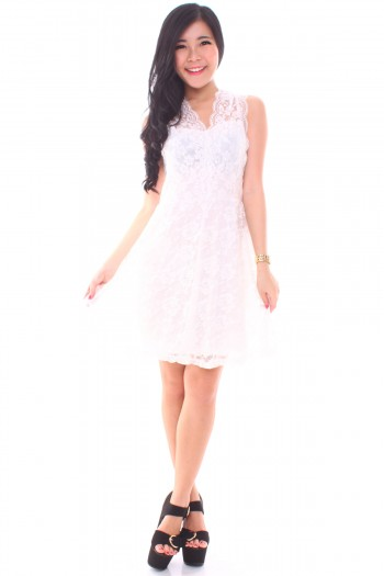 Scallop Lace Skater Dress