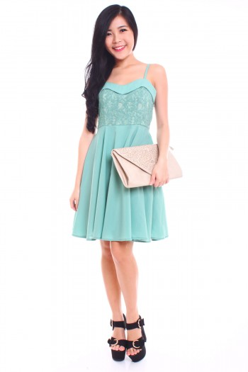 Lace Sweetheart Bib Dress