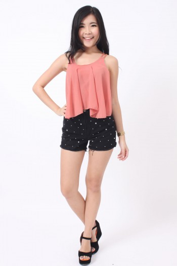 Studded Diamante Denim Shorts
