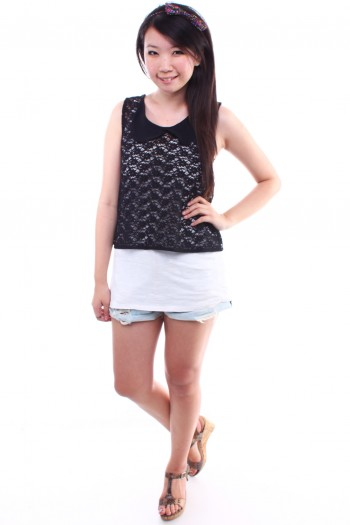 Lace Peterpan Collar Cropped Top