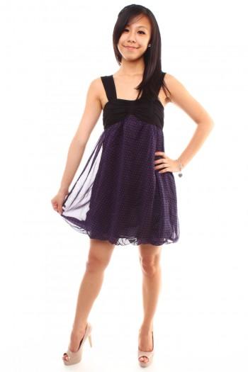 Hearts-dotted Bubble Hem Dress