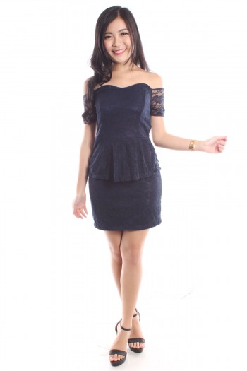 Off Shoulder Lace Peplum Dress