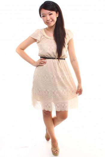 Lace Scallop Hem Dress