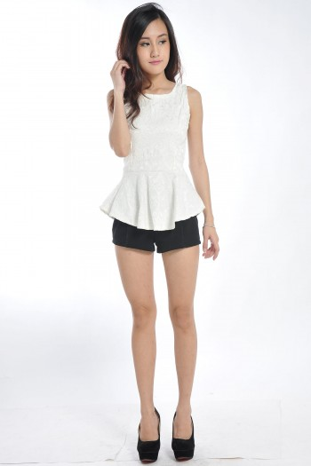 Baroque Embroidered Peplum Top