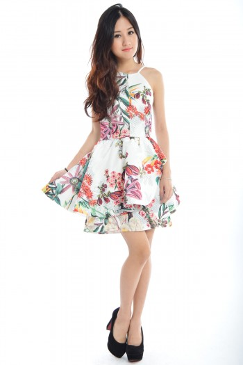 *Premium* Tropic Floral Peplum Dress