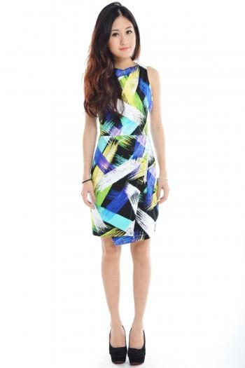 *Premium* Abstract Zip Dress