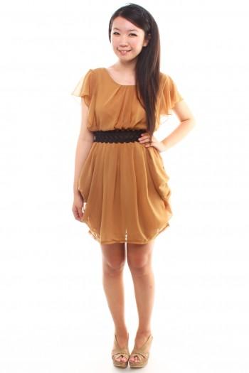 Fluttersleeves Draped Dress