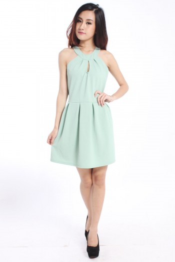 Keyhole Pleated Dress