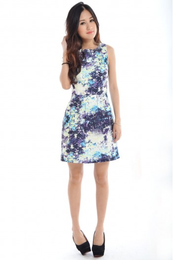 Abstract Paint Skater Dress
