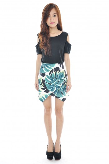 Origami Folds Palm Print Skirt