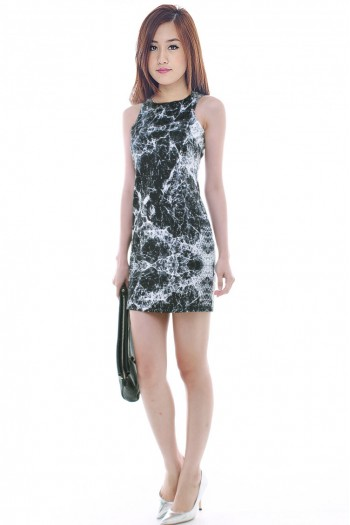 Marble Neoprene Shift Dress