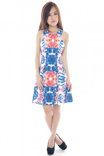 *Premium* Floral Abstract Skater Dress