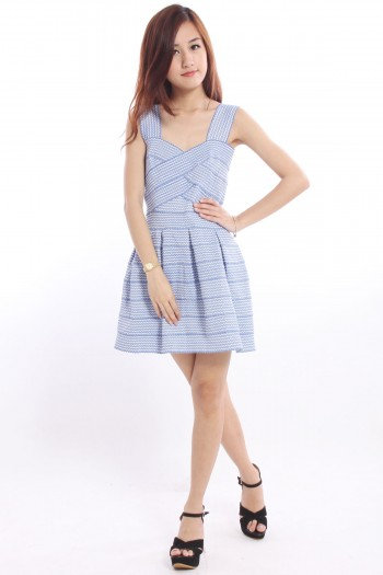 Bandage Stripe Skater Dress