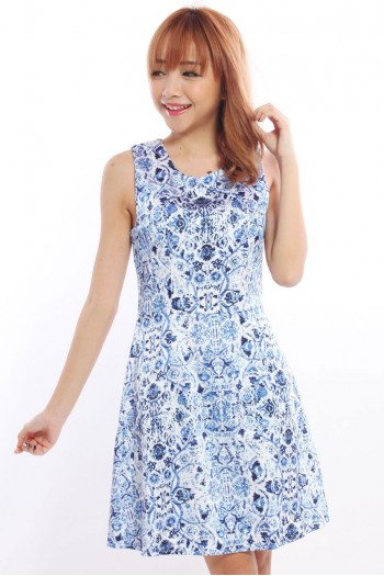 *Premium* Porcelain Mirrored Skater Dress