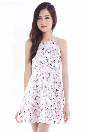 *PREMIUM* Floral Halter Skater Dress