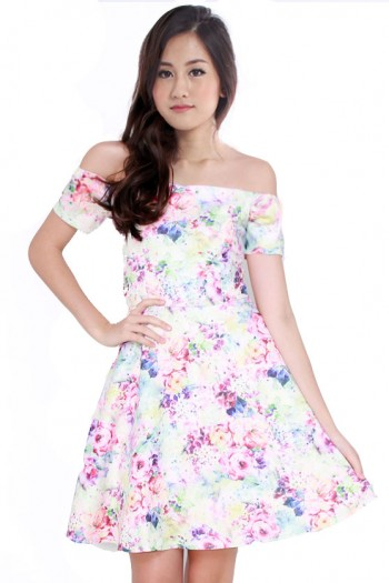 Floral Off Shoulder Skater Dress