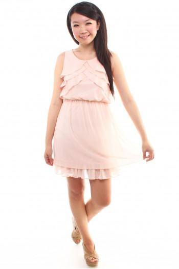 Ruffled Bib Chiffon Dress