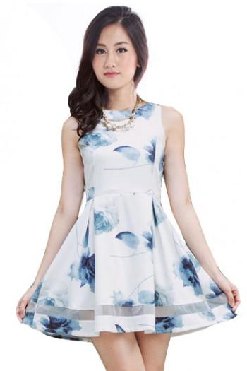 Floral Mesh Panel Skater Dress