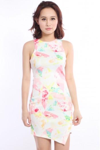 Floral Prism Origami Slit Dress