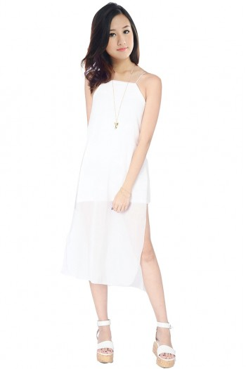 Chiffon Side Slit Midi Dress