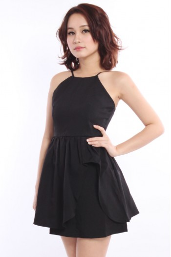 *Premium* Asymmetric Halter Peplum Dress