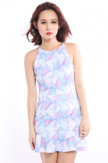 Geometric Halter Trumpet Dress
