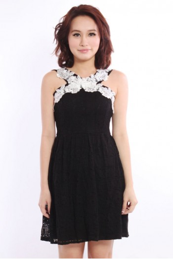 *Premium* Criss-Cross Embroidered Lace Dress