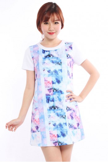 Abstract Watercolour Boxy Shift Dress