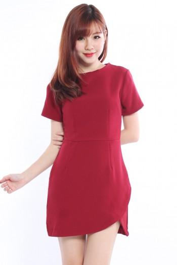 Overlap Curve Hem Dress