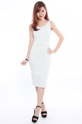 V-Back Striped Midi Dress