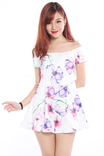Off Shoulder Watercolour Floral Romper