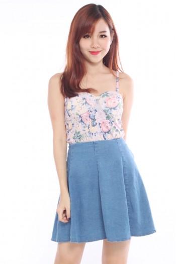 Pleated High Waist Denim Skirt