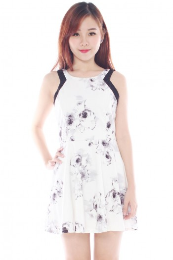 Cut-In Watercolour Floral Skater Dress
