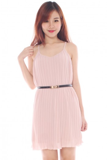 *Premium* Belted Pleated V-neck dress