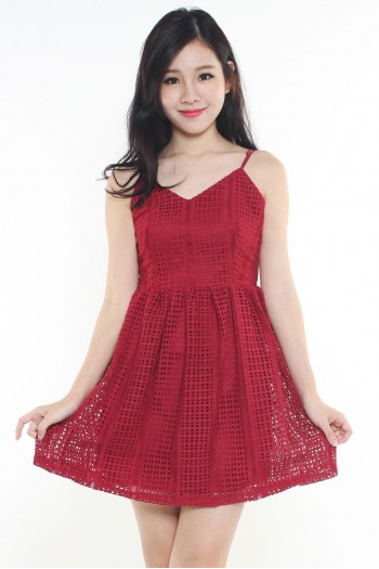V-neck Crochet Skater Dress