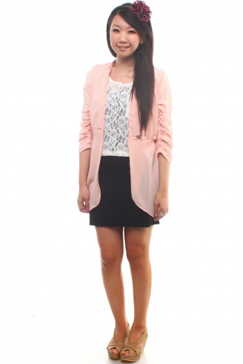 Runched Sleeves Blazer
