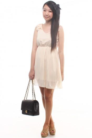Ruffle straps, pleated skirt dress