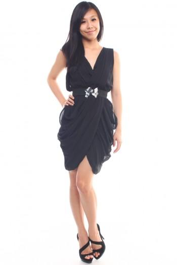 Drape Dress with Belt