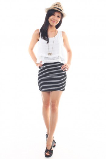 Chiffon Overlay Striped Dress