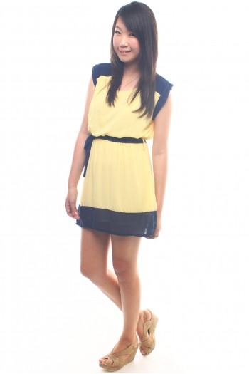 Colour Block Chiffon Dress