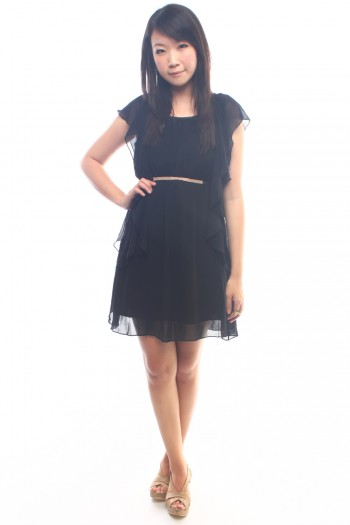Fluttersleeves Crystal Banded Dress