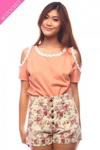 Floral Lined Cut Out Top